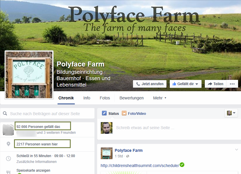 Polyface Farm Facebook Screenshot