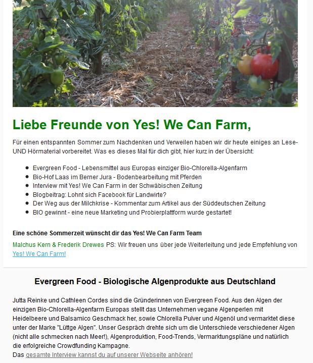 Newsletter über nachhaltige Landwirtschaft von Yes We Can Farm