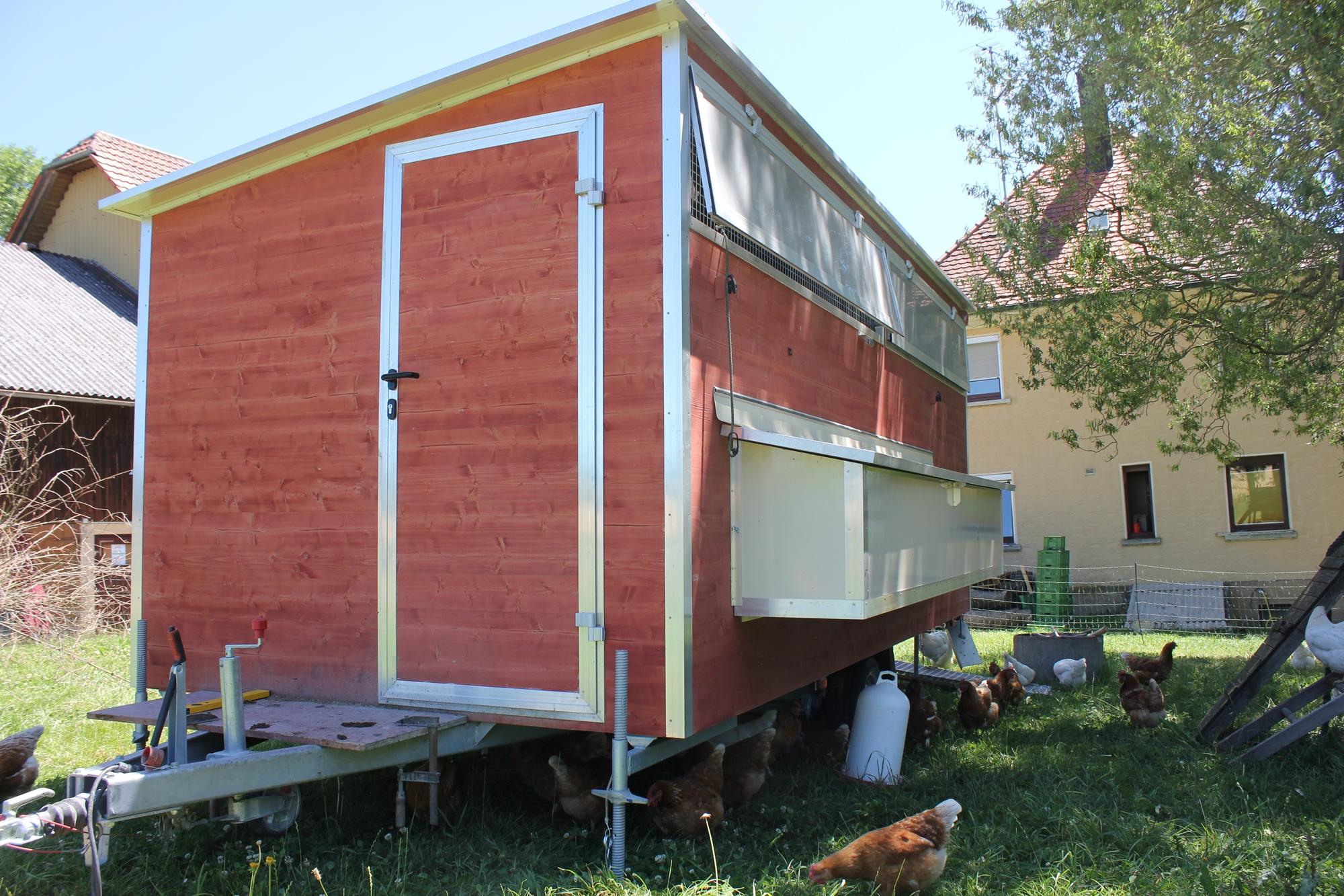 Mobilstall Hühnerhaltung selbst gebaut Siegbert Gerster